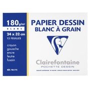Pack 12 sheets A4+ drawing paper Clairefontaine C grained 180 g