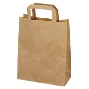 Pack of 50 kraft bags with flat handle 28 x 22 x 10 cm