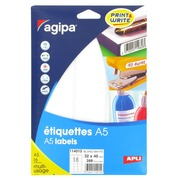 Box of 288 adhesive labels Agipa 114015 white 32 x 40 mm laser and inkjet