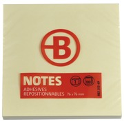Blok 100 gele herkleefbare notes Bruneau 75 x 75 mm