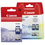 Canon big pack PG510 + CL511: 1 black cartridge + 1 multipack black / color high capacity for inkjet printer