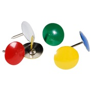 BOX OF 1000 STANDARD DRAWING PINS - 9MM HIGH - 9MM WIDTH - Assorted colours
