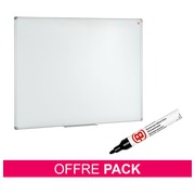 Pack lacquered whiteboard Bruneau 120 x 90 cm + 12 black erasable markers Bruneau for free