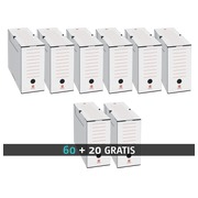 Pack 60 white archive boxes Bruneau back 10 cm + 20 free boxes