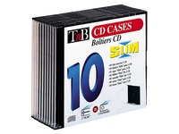 Packet 10 cases, slim CD, black tray