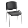Meeting chair, fireproof black vinyl, chromed feet